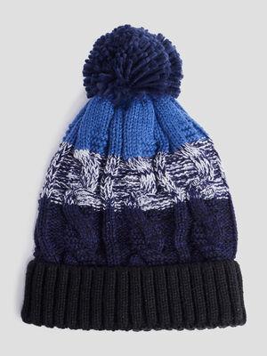 Bonnet a pompon bleu marine garcon