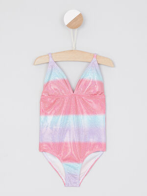 Maillot 1 piece rayures pailletees multicolore fille