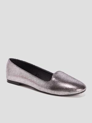 Ballerines metallisees gris argent femme