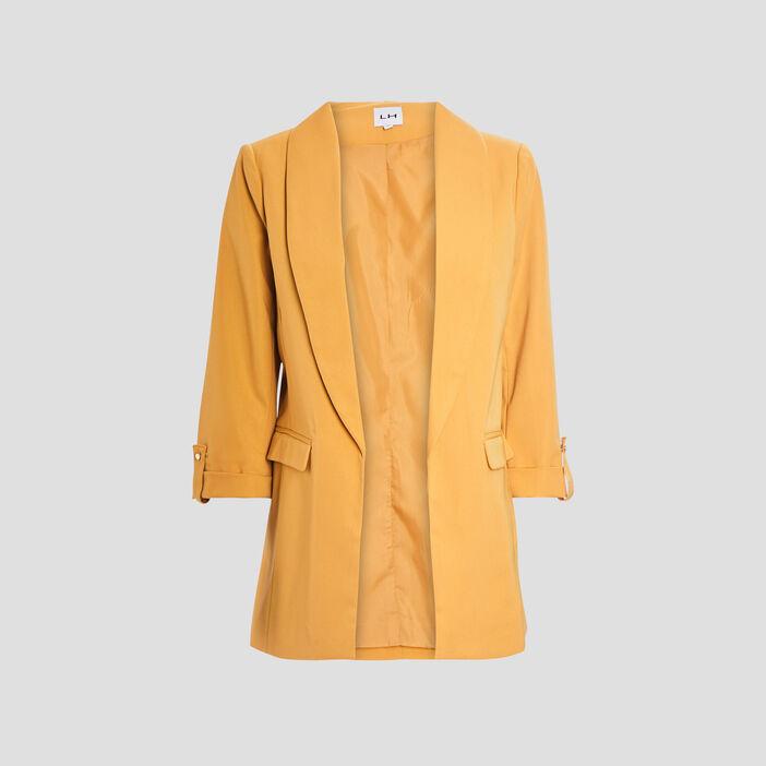 Veste droite manches 3/4 femme jaune moutarde