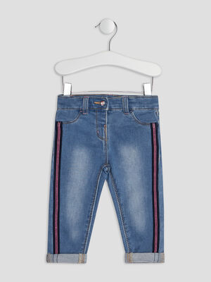 Jeans slim a bandes denim double stone bebef