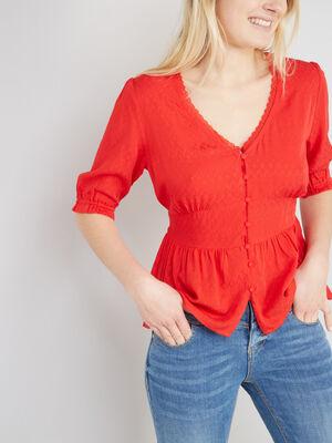 Chemise a manches courtes bouffantes rouge femme