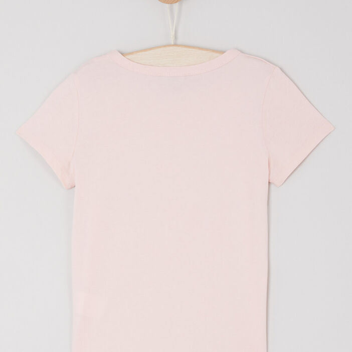 T-shirt en coton avec imprimé fille rose