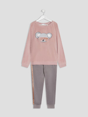 Ensemble pyjama 2 pieces rose fille