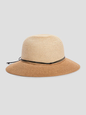 Chapeau cloche en paille bicolore beige mixte