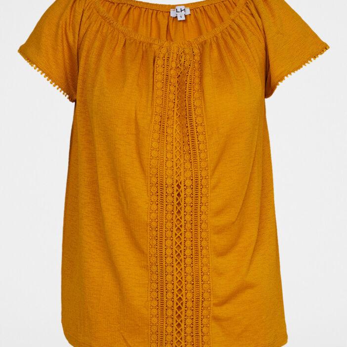 T-shirt uni texturé avec dentelle femme jaune moutarde