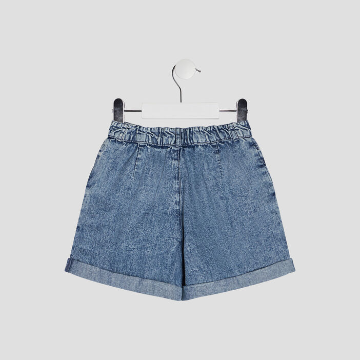 Short ample en jean fille bleu
