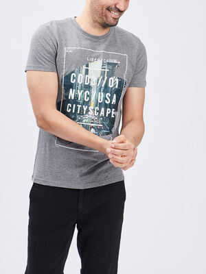 T shirt manches courtes gris homme