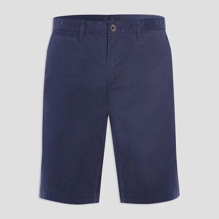 Bermuda coton uni coupe droite homme bleu marine