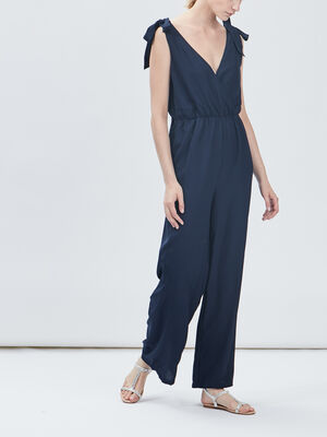 Combinaison pantalon droite bleu marine femme