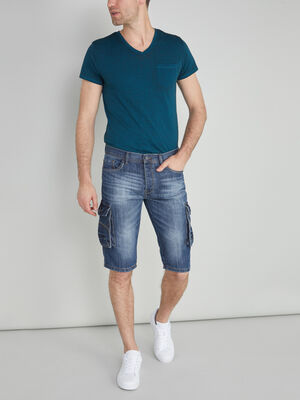 Bermuda battle en denim use denim stone homme