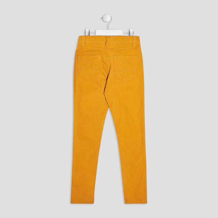 Pantalon skinny fille jaune moutarde