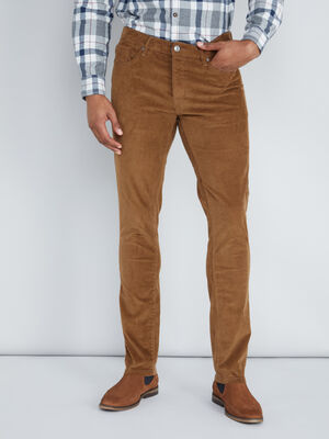 Pantalon droit en velours uni camel homme