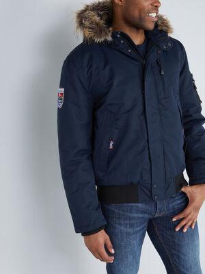 Manteau zippe avec capuche bleu marine homme