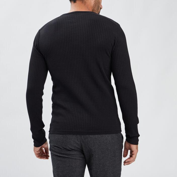 T-shirt manches longues côtelé homme noir