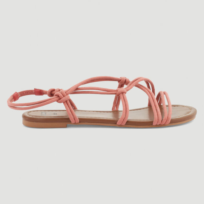 Sandales lanières nouées femme rose