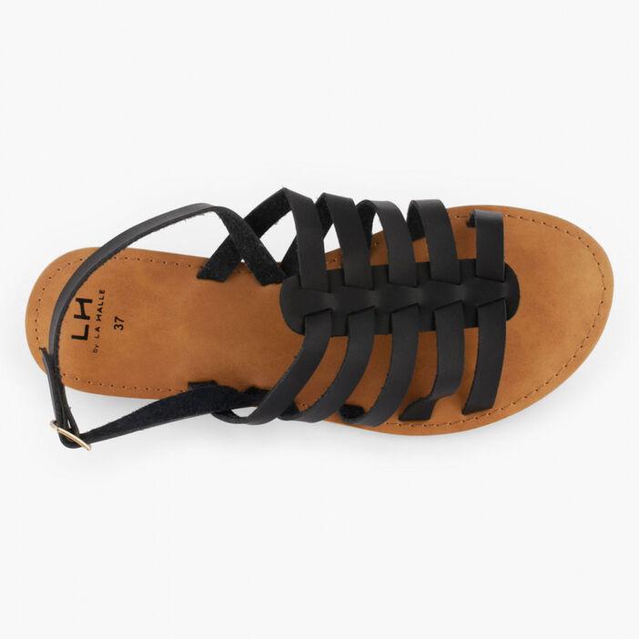 Sandales unies à boucle femme noir