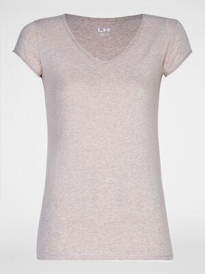 T shirt chine col V rose clair femme