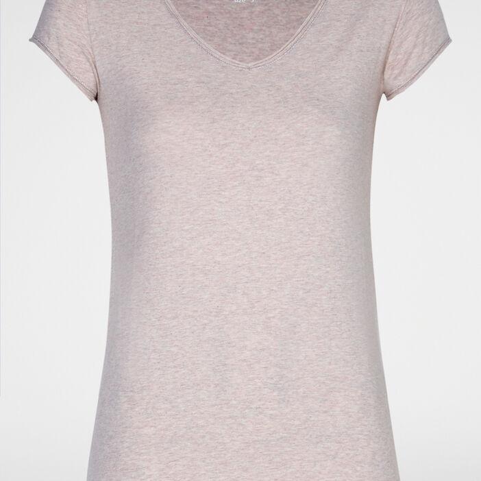 T-shirt chiné col V femme rose clair