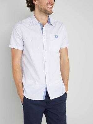 Chemise a pois en coton blanc homme