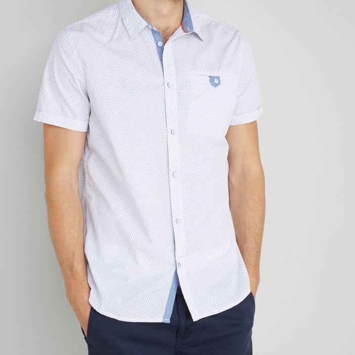 Chemise à pois en coton homme blanc