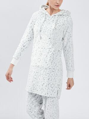 Sweat pyjama coordonnable ecru femme