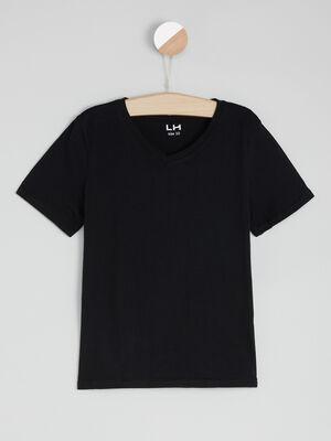 T shirt en coton col V noir garcon