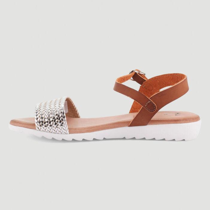 Sandales à bride tressée femme couleur argent