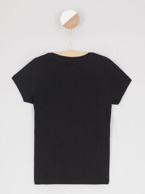 T shirt uni a manches courtes noir fille