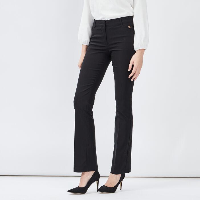 Pantalon bootcut taille basse femme noir
