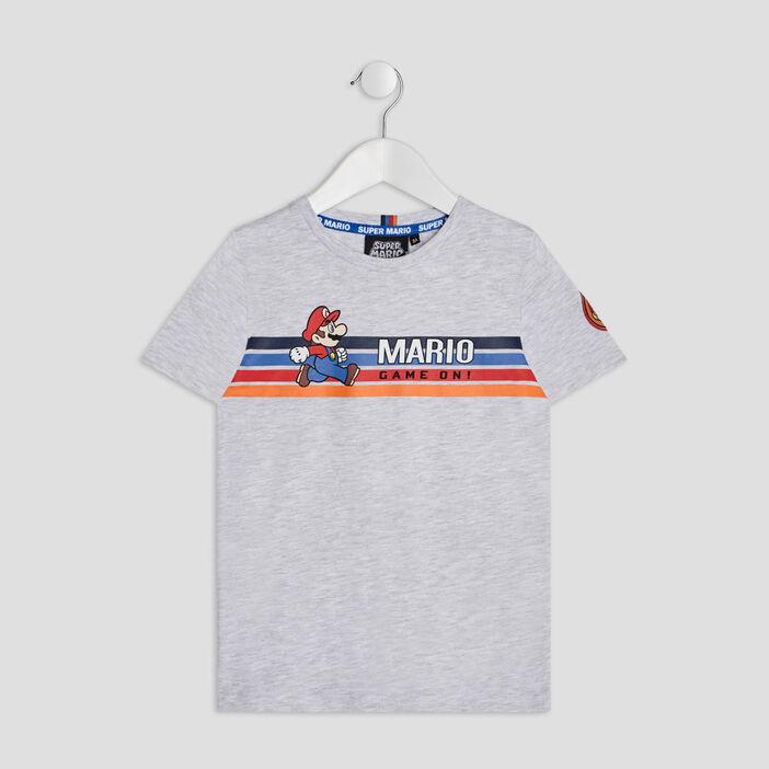 T-shirt manches courtes Mario garçon gris