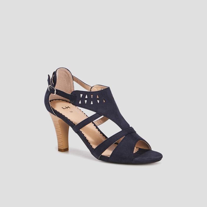 Sandales à talons suédées femme bleu