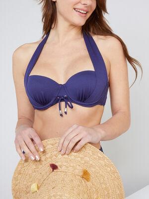 Haut de maillot avec fronces Isatis bleu marine femme