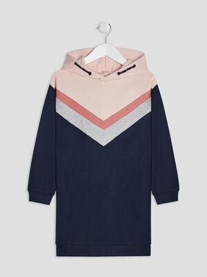 Robe sweat avec capuche bleu marine fille