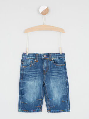 Bermuda en denim effet use denim stone garcon