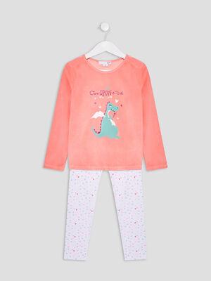 Ensemble pyjama 2 pieces orange corail fille