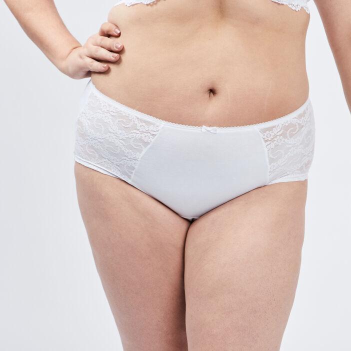 Boxer à dentelle grande taille femme grande taille blanc