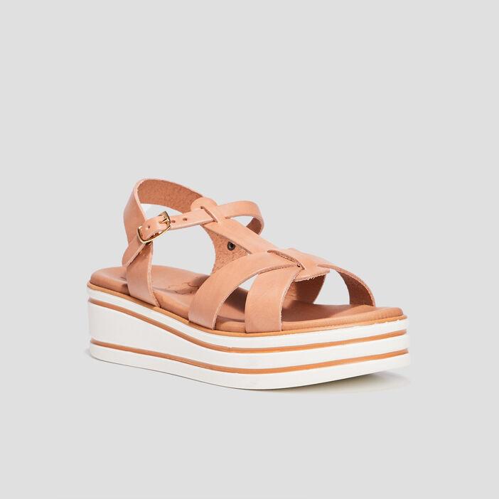 Sandales compensées fille beige
