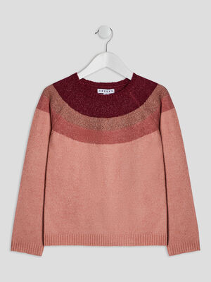 Pull avec col rond Creeks rose fille