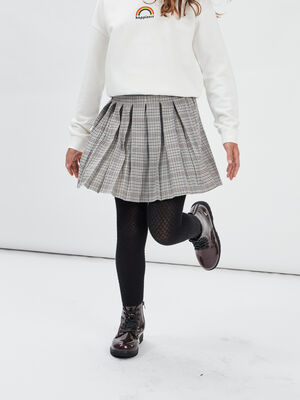 Jupe evasee plissee gris fille