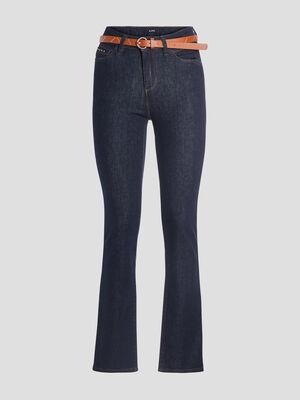 Jeans straight ceinture denim brut femme