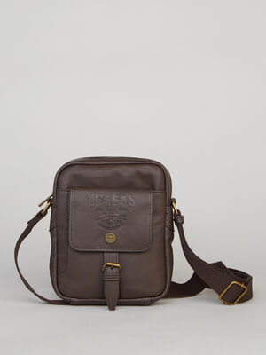Sac crossover motifs emboutis marron homme