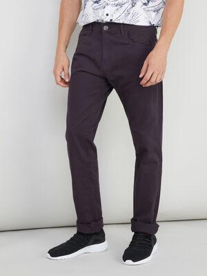 Pantalon droit coton uni violet homme