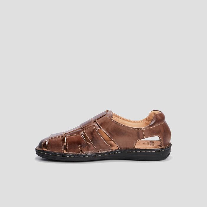 Sandales en cuir homme marron