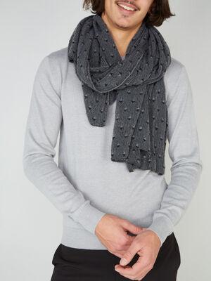 charpe a motif geometrique gris fonce mixte