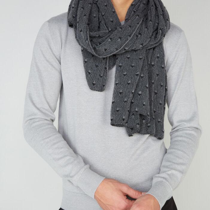 Écharpe à motif géométrique mixte gris foncé