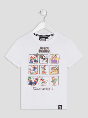 T shirt manches courtes Mario blanc garcon