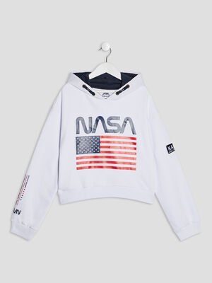 Sweat a capuche NASA blanc fille