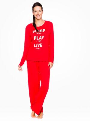 Pyjama en coton Snoopy blanc femme