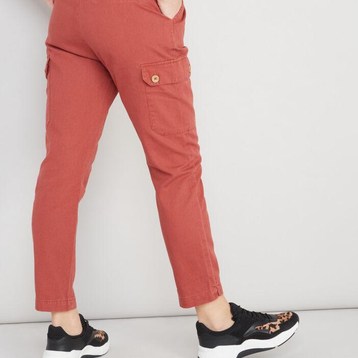 Pantalon battle avec ceinture femme orange foncé